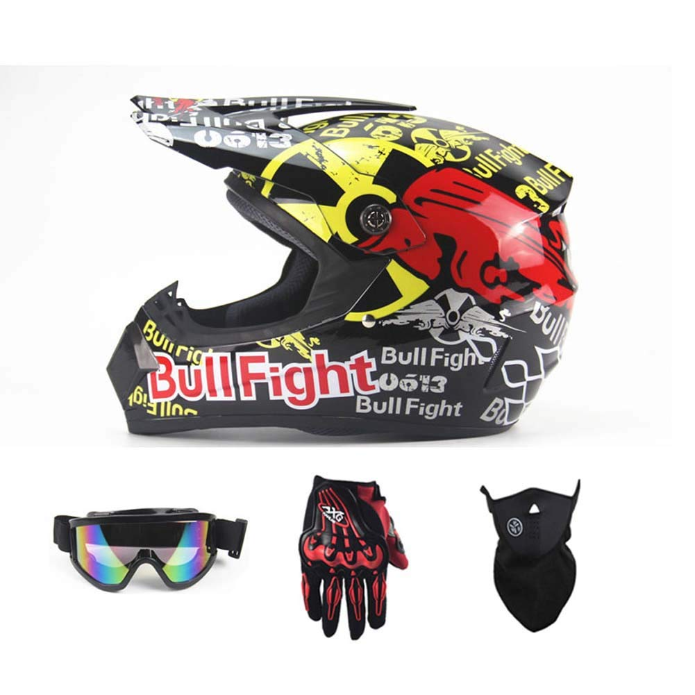 MRXUE Off-Road Anti-Collision Motorbike Helmet, Full Face Helmet Off-Road Anti-Collision Helmet Kit Adult Highway Helmet Give Goggles Bicycle Gloves Dust Mask Graffiti,A,M(55~56Cm)