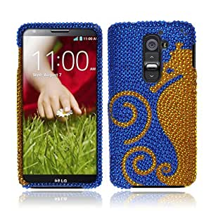 NextKin LG Optimus G2 D800 D801 D802 LS980 Bling Crystal Full Rhinestones Diamond Case Protector - Dark Blue Gold Seahorse