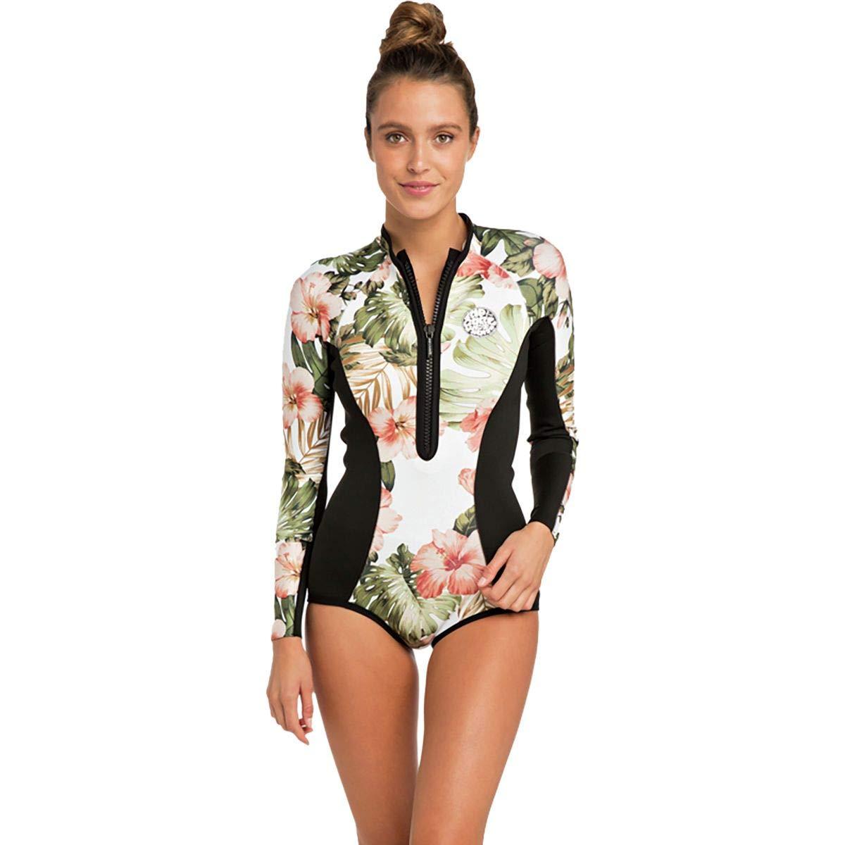 Rip Curl G Bomb Long Sleeve Bikini Cut Springsuit Wetsuit, Black/White, 6