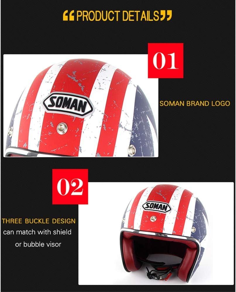SOMAN Certificaci/ón Dot Amarillo Claro 3//4 Cara Abierta Motocicleta Casco Vintage Harley Cascos Chopper Bike Casco con Gafas de Sol Visera Route 66 ,M 56~57cm