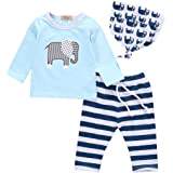 Charm Kingdom Baby Boys' Long Sleeve Elephant Print T-Shirt And Striped Pants Outfit With Hat