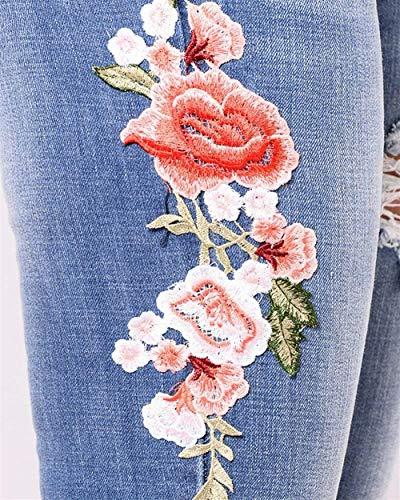 Dunkel De Adelina Ropa Pantalones Mezclilla Agujero Cómodos Chern Bordados Agujeros Blau Delgados Vaqueros Mujer Rasgado HEOrEq