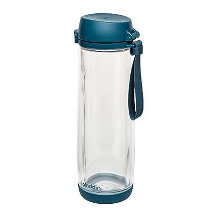 Aladdin 33362 Botella con Vaso de Vidrio, Azul 0,53l