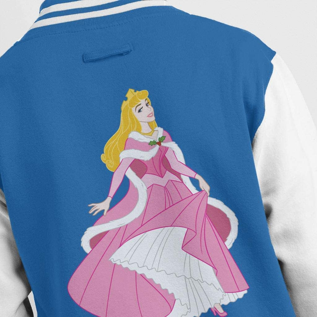 Disney Christmas Sleeping Beauty Dancing Pink Dress Men's Varsity Jacket Royal/White