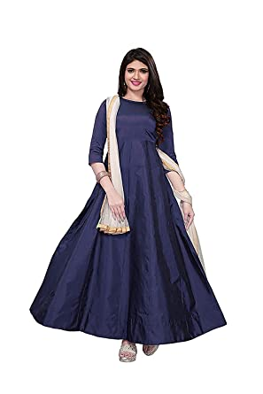e33183523b1 Maruti Fashion Women s Net Semi-stitched Embroidered Salwar Suit (Blue  Gold  Free Size)  Amazon.in  Clothing   Accessories