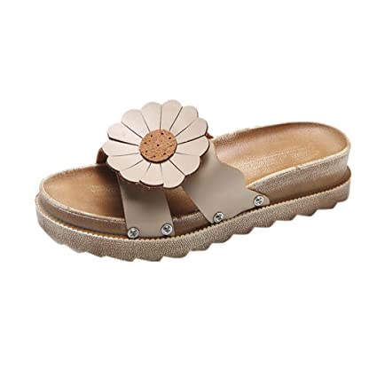 d9676d8fa57058 SUKEQ Womens Flower Footbed Slide Sandal Comfort Soft Sole Slippers Thick  Bottom Shoes (8 B