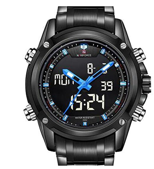 Naviforce nf9050 Hombres cuarzo reloj analógico digital LED reloj de pulsera calendario correa de acero relojes