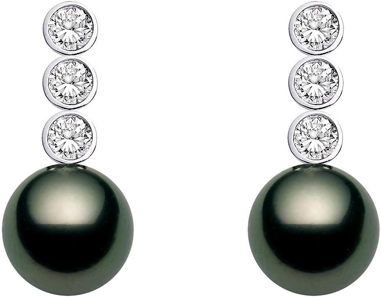 18 K oro blanco calidad AAA negro perla tahitiana pendientes de diamantes