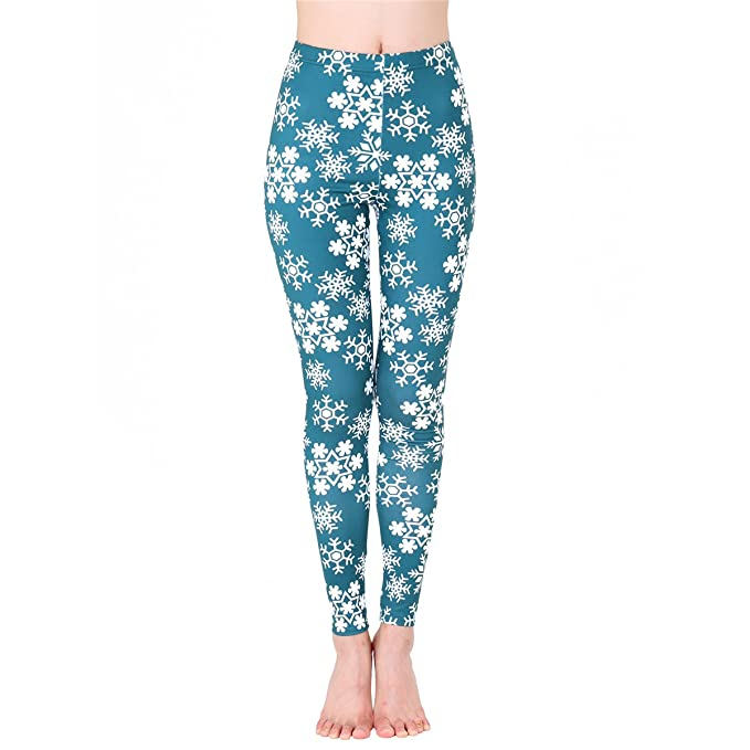 JUNVEVOOL Causal Leggings Womens Fall Winter Snowflake Print ...