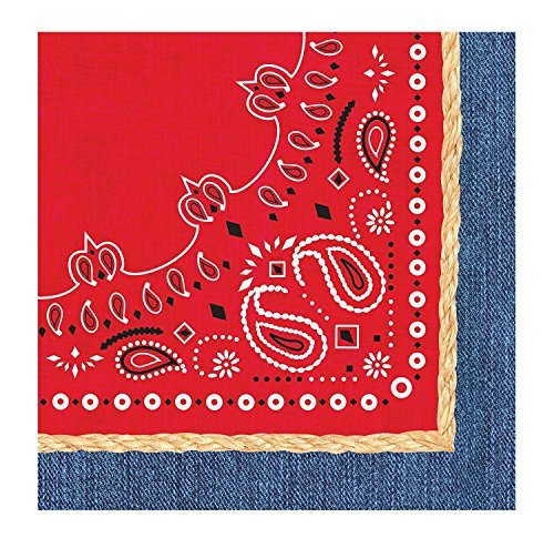 Creative Converting 3-Ply Bandanarama Lunch Napkins, Red (Value