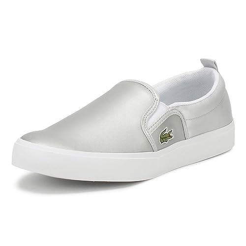 Lacoste Niños Plata/Blanco Gazon 218 1 Slip On Zapatillas-UK 1: Amazon.es: Zapatos y complementos
