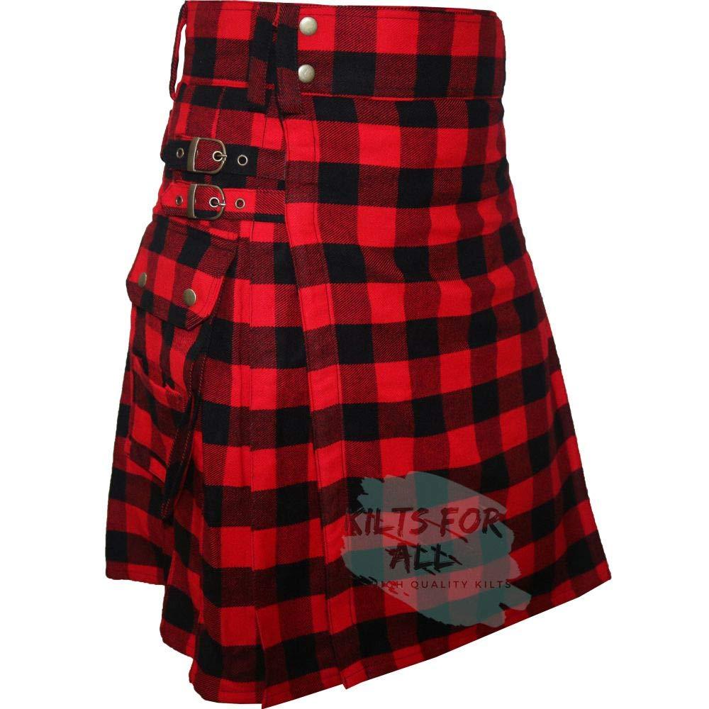 Rob Ray Tartan (16Oz Acrylic Wool Tartan) Fashion Utility Kilt For Men's (34'')