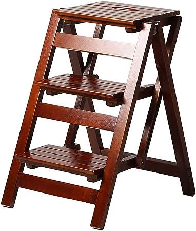 XHCfold Taburete Plegable de 3 peldaños, Escalera de Madera Tipo A para el hogar, para la Cocina y el hogar: Amazon.es: Hogar