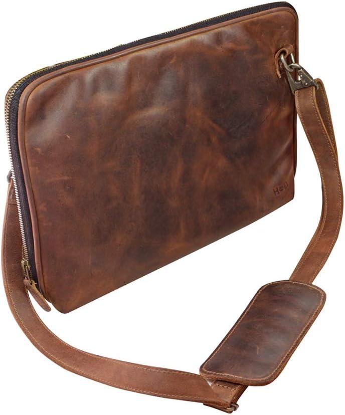 Hide & Drink, Leather (13 in.) Laptop Zip Up Pouch Sleeve Portfolio Shoulder Bag Travel Office Essentials, Handmade :: Bourbon Brown