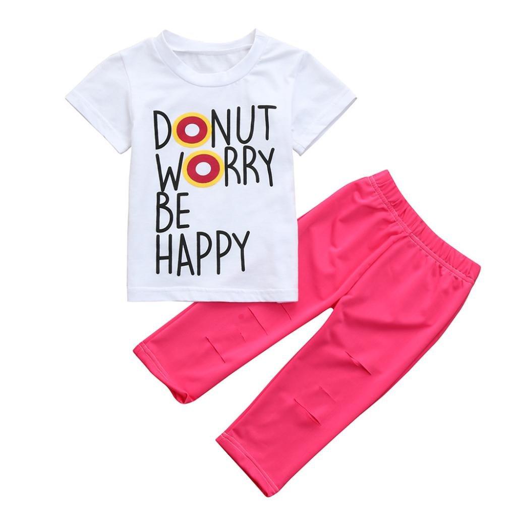 Celendi 2 PCS Baby Girls Clothes Letter Print T-Shirt Tops+Pants Toddler Set