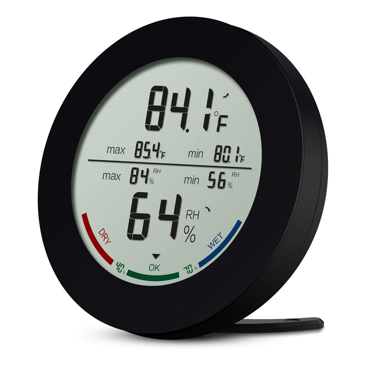 AMIR Digital Hygrometer, Indoor Outdoor Thermometer Hygrometer Monitor Temperature Humidity Gauge, Wireless Outdoor Hygrometer, ¡æ/¨H Switch Home, Office, Baby Room, etc (Mini-Black) AMIR WA10B Humidity Meters