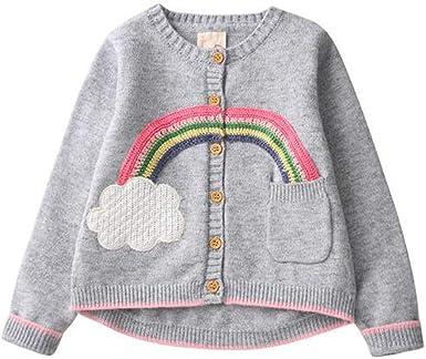 : Children Sweaters Girls Cardigan Rainbow Pattern