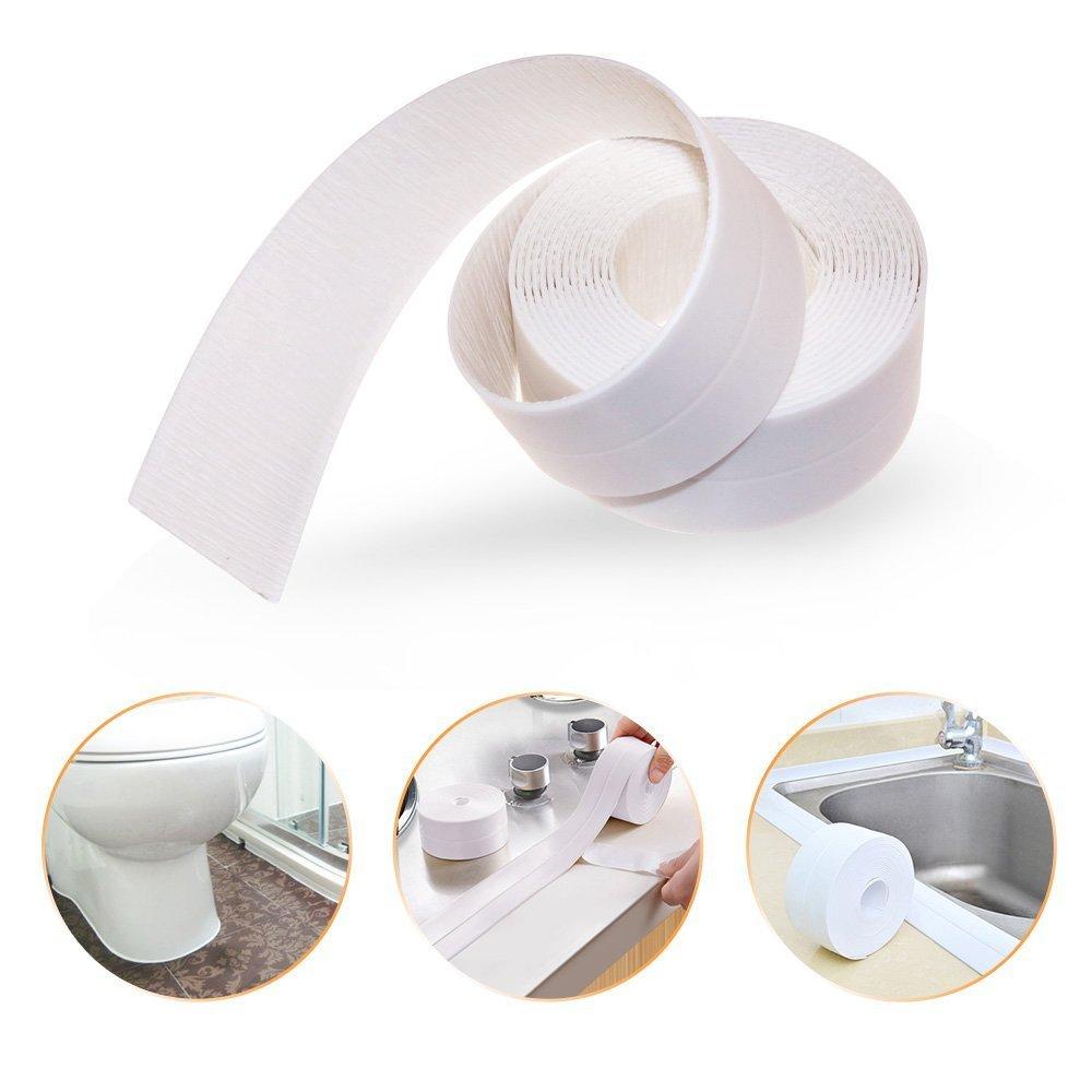 Caulk Strip PE Self Adhesive Bathtub Sealant Waterproof Sealing Strip Kitchen Caulk Tape Wall Sealing Tape Caulk Sealer Mildew Proof Strip 1.5inches Width * 125.98inches Length Newooe