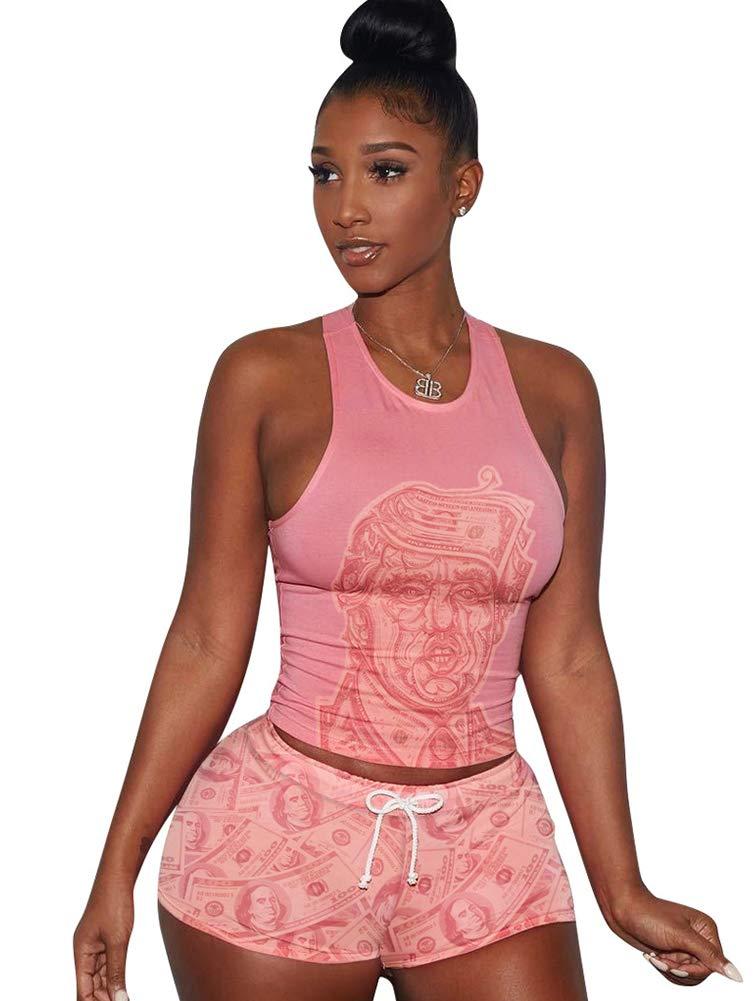 Women's 2 Piece Shorts Set - Sexy Tank Tops + Shorts Tracksuit Medium Pink by Mojessy