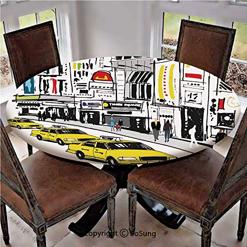 Elastic Edged Polyester Fitted Table Cover,Times Square New York with People in Street Taxi Cabs Traffic Fashion Illustration,Fits up 56