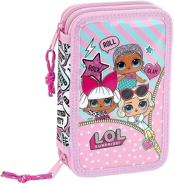 Estuche Escolar LOL Surprise 2 Pisos Completo Fucsia Rosa + Llavero girabrilla: Amazon.es: Equipaje