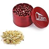 Uten 2.5''4-Piece Zinc Alloy Tobacco Spice Weed Herb Grinder with Pollen Catcher (red)