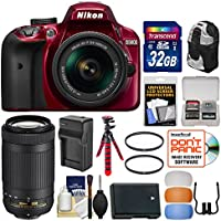 Nikon D3400 Digital SLR Camera & 18-55mm VR (Red) & 70-300mm DX AF-P Lenses with 32GB Card + Backpack + Battery & Charger + Flex Tripod + Filters + Kit