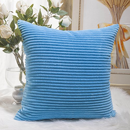 HOME BRILLIANT Striped Corduroy Plush Texture Velvet Euro Throw Pillow Sham Cushion Cover for Chair, 24 x 24 inch (60cm), Turquoise (Colorful Euro Sham Cover)