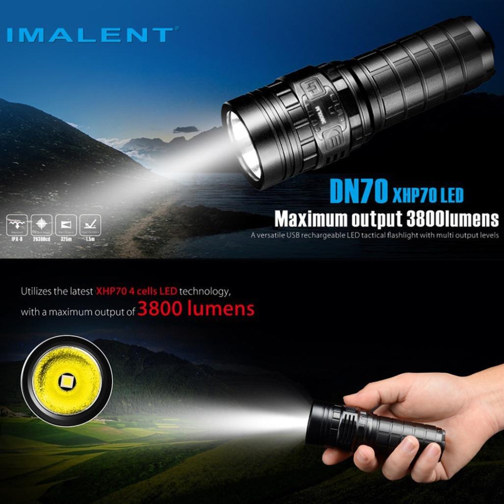 Jamicy® DN70 XHP70 3800LM 26650 Wasserdichte LED Taschenlampe Taktische Wiederaufladbare Beleuchtung