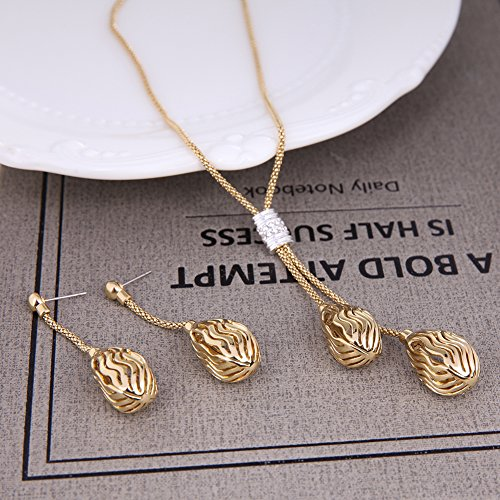Pokich Rose Gold Plated Flower Pendant Necklace Earrings Fashion Jewelry Set for Women Girl