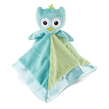 Amazon.com  Snoozies Cozy Little Lovies Plush Satin Baby Blanket - Blue  Owl  Baby d180f606f