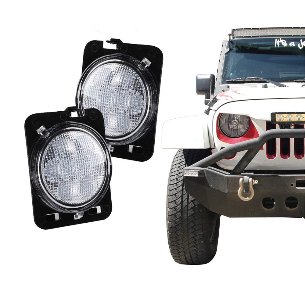 Xprite LED Amber Yellow Front Fender Side Marker Light Assembly with Smoke Lens for 2007-2017 Jeep Wrangler SL-JEEP-JK-SMK-G1