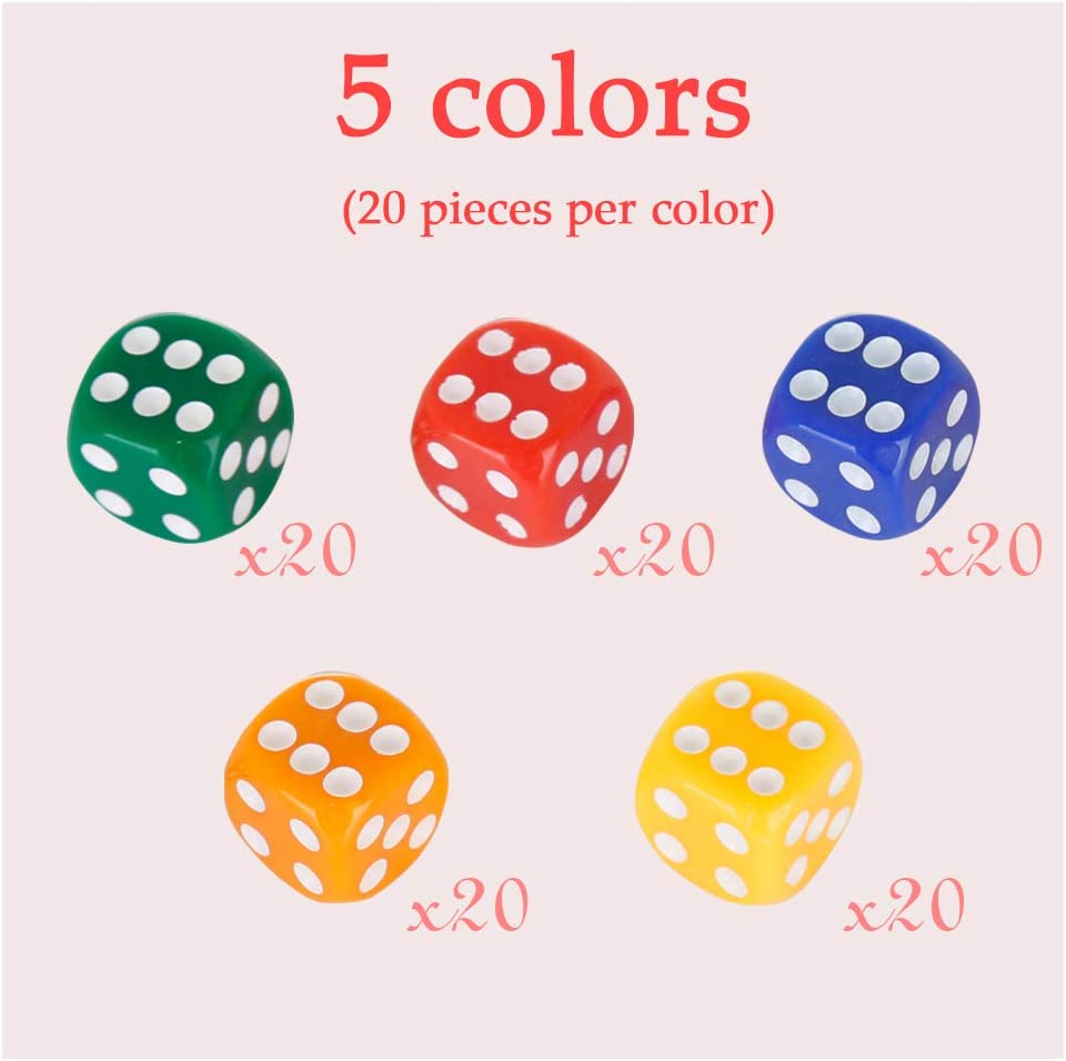Multi Assorted Colored 16mm Solid /& Translucent Colorful Acrylic Dice for Farkel Party Favors ShellKingdom 100 Count Multicolor Game Dice Set with Round Edge