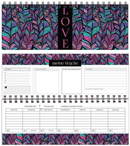 KOEPRINDT - edler Tischkalender - BOHO Style - Wochenkalender im Quer-Format - Querkalender, 365 Tage - 52 Wochen - 1 Woche 2 Seiten - edler Terminplaner 2020 - Querterminbuch