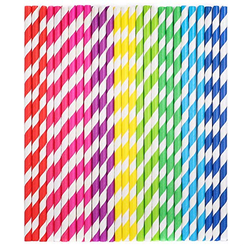 Tomnk 225PCS Stripe Paper Straw Drinking for Carious Drinking Decorations Parties Birthday Parties Weddings etc. with all the color of the rainbow -