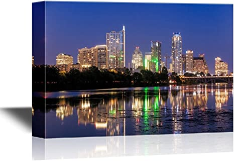 Amazon Com Wall26 Usa City Skyline Canvas Wall Art Beautiful Austin Skyline Reflection At Twilight Texas Gallery Wrap Modern Home Art Ready To Hang 24x36 Inches Posters Prints