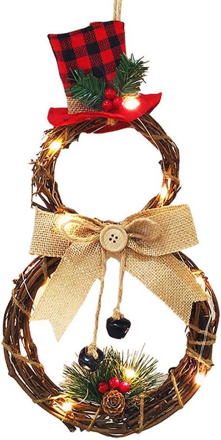 Decoración navideña Adorno colgante con luz LED Guirnalda de Navidad Puerta de pared Colgante colgante Navidad Decoración de árbol de Navidad DIY