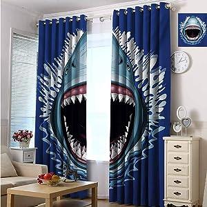 hengshu Shark 99% Blackout Curtains Attack of Open Mouth Sharp Teeth Sea Danger Wildlife Ocean Life Cartoon for Bedroom Kindergarten Living Room W72 x L84 Inch Navy Blue Grey Fuchsia