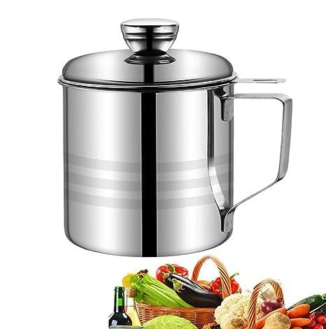 MAI&BAO Filtro Aceite Cocina Acero Inoxidable, Graseras de Cocina con Malla Fina Colador y Tapa Aceite Olla de Colador de Aceite de Acero Inoxidable ...
