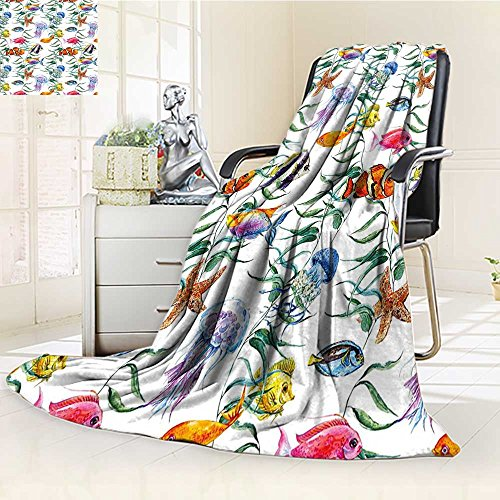 Throw Blanket Tropical Reef with Seaweed Algae JellyAquatic Saltwater Nemo Theme Warm Microfiber All Season Blanket for Bed or ()