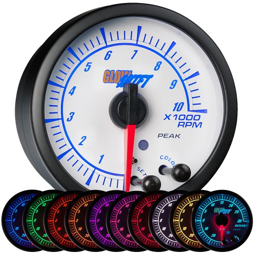 (GlowShift White Elite 10 Color 10,000 RPM Tachometer Gauge - Includes Free Warning Light - For 1-10 Cylinder Gas Powered Engines - White Dial - Clear Lens - Peak Recall Function - 2-1/16