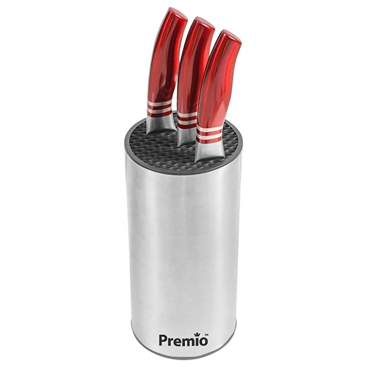 Premio Universal Stainless Steel Knife Holder with Blocks, Fits 12 Knives