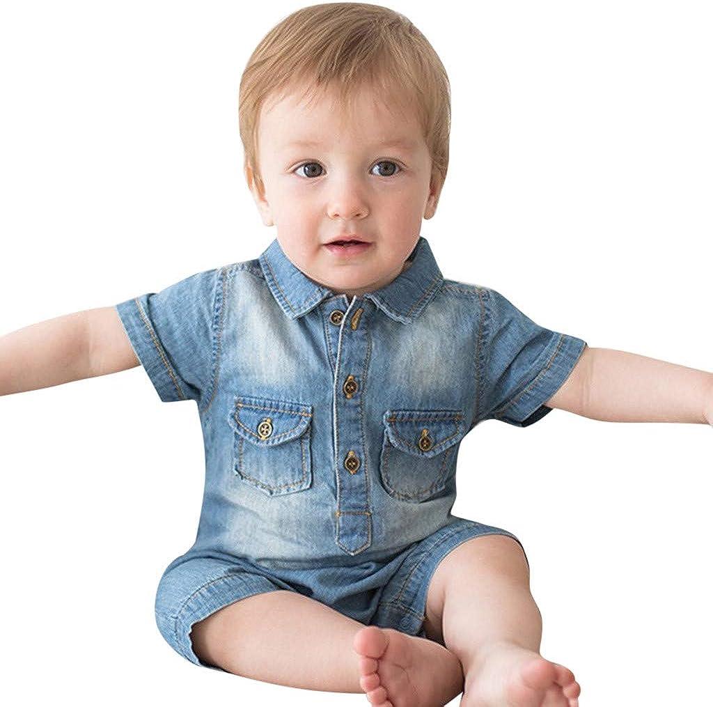 MAYOGO Pelele Bebe Niño Camisa Vaquera Bebe Niño Mameluco Manga Corta Ropa bebé Fiesta Recién Nacido bebé niños Fotografía Ropa de Bautizo para Chico Polo Mono Bebe de 3-24 Meses: Amazon.es: Ropa