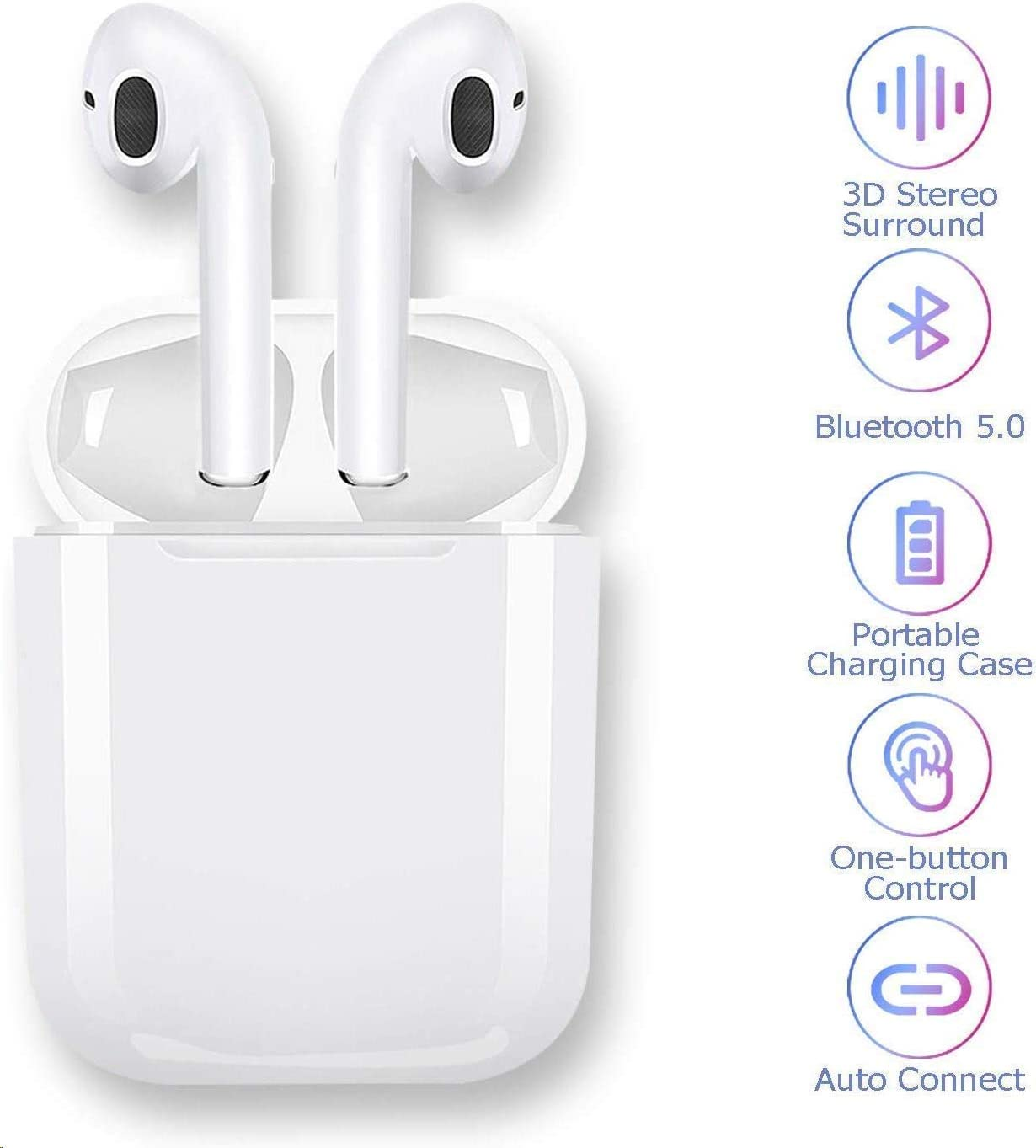Bluetooth 5.0 Headset Earbuds Bluetooth Headphones 3D Stereo IPX5 Waterproof Pop-ups Auto Pairing Fast Charging for Samsung iPhone Apple of airpod and Airpods Sports Earphone