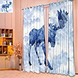 SeptSonne 3D Geometry Fashion Design Print Thermal Insulated Blackout Curtain double exposure with the silhouette of a moose and pine needles of spruce with Top for Bedroom(W104 x L84 Pair) Review