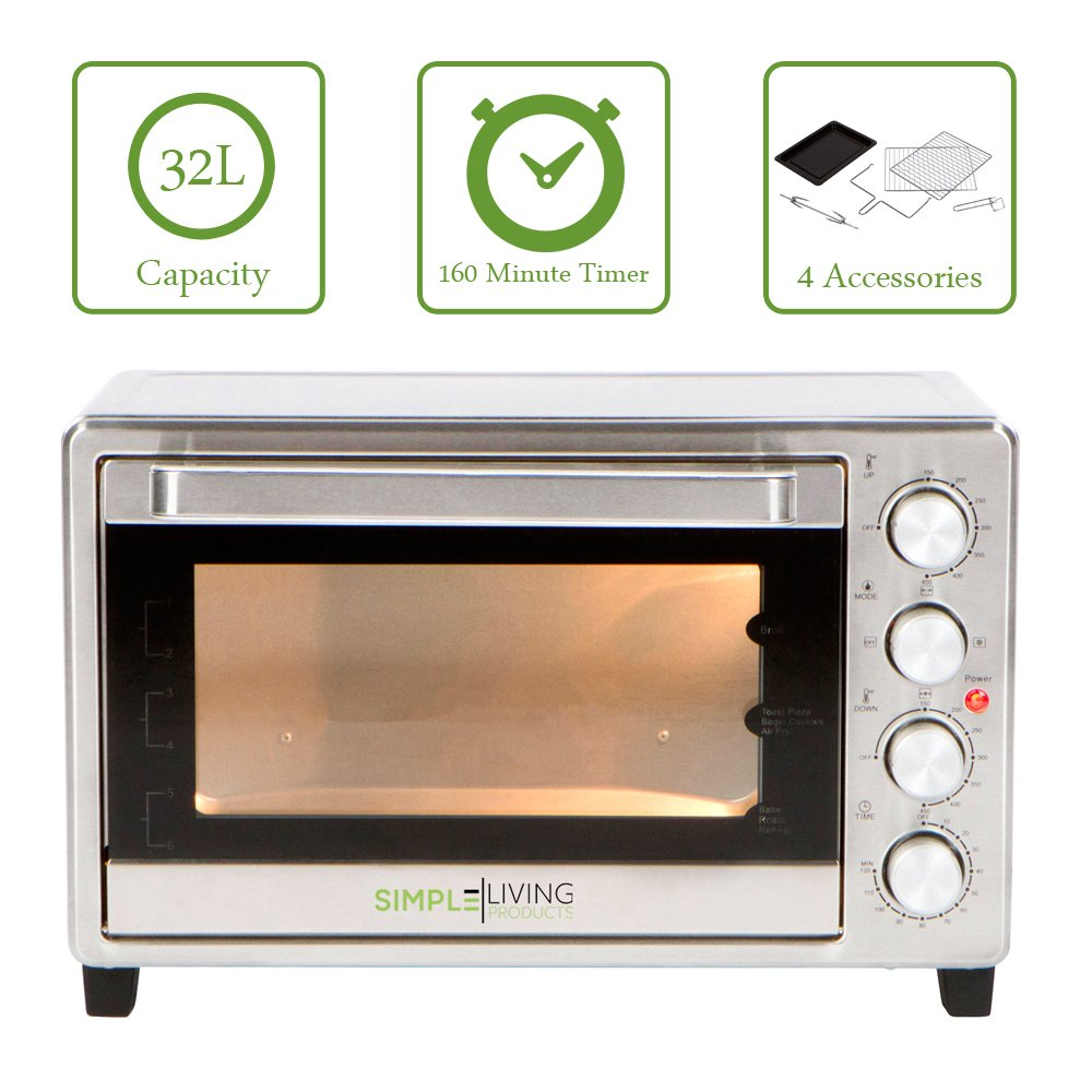 Simple Living Products SL-C32L 32L XL Convection Oven - Counter Top Compatible with Multiple Cooking Functions