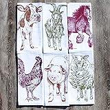 Cloth Napkins Set of 6 Barnyard Animals Cotton Kitchen Linens