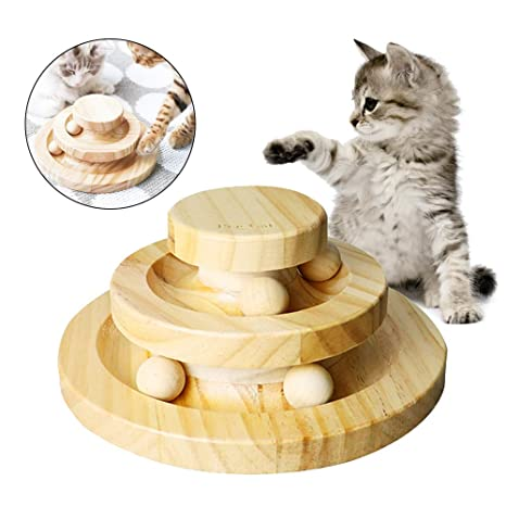 Chuanglan - Bandeja de Juego para Gatos, 2 Capas, Juguetes para Mascotas, Inteligencia