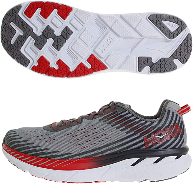 HOKA ONE ONE Mens Clifton 5 Running Shoe Alloy/Steel Grey Size ...