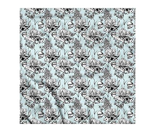 Shabby Chic Bandana by Ambesonne, Vintage Monochrome Pond Water Flowers Lily Carp Snail Twigs Artwork, Printed Unisex Bandana Head and Neck Tie Scarf Headband, 22 X 22 Inches, Baby Blue Black - Monochrome Twigs